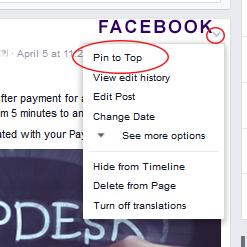 pin to top facebook