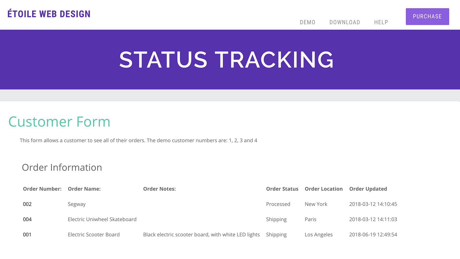 Customer Tracking Page