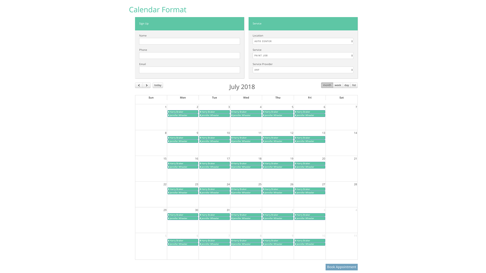 Booking Form Calendar Layout Month View
