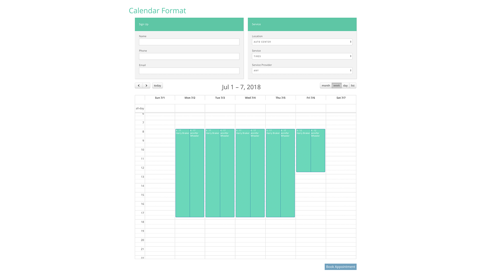 Booking Form Calendar Layout Week View