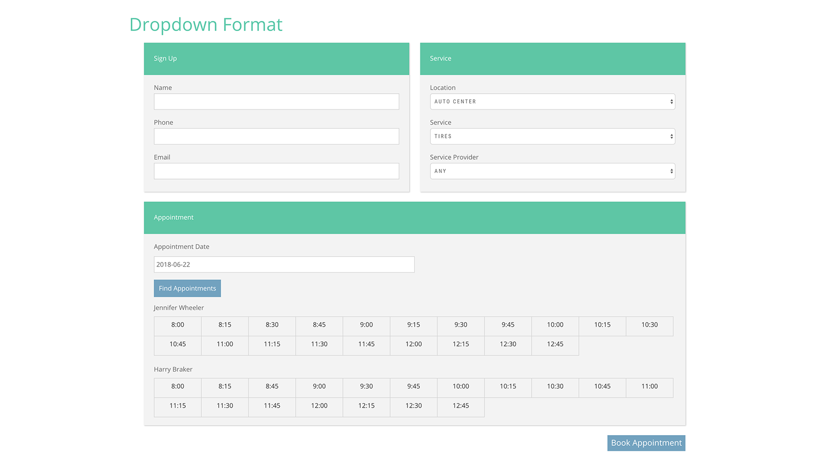 Booking Form Dropdown Layout